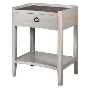 Amira White Washed Wood & Rattan Side Table - side table