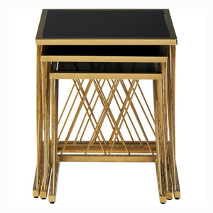 Armando Gold and Black Glass Nest of Tables - side table