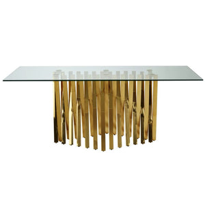 Armando Gold and Glass Dining Table - Dining Table