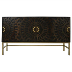 Arwen Dark Mango Wood and Brass Sideboard - sideboard