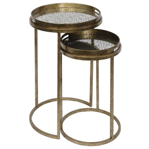 Arya Antique Gold Diamond Patterned Nest of Tables - side table