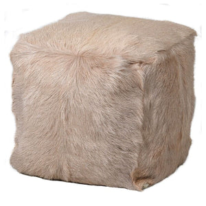 Ava Natural Beige Goat Fur Pouf - Stool