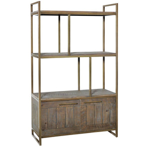 Avery Bronze & Reclaimed Wood Bookcase - Bookcase