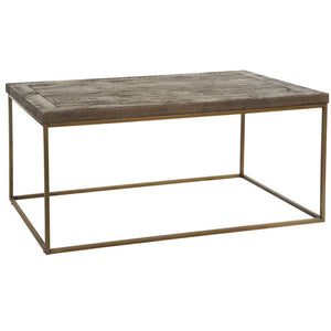 Avery Bronze & Reclaimed Wood Coffee Table - Coffee Table