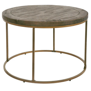 Avery Bronze & Reclaimed Wood Round Coffee Table - Coffee Table