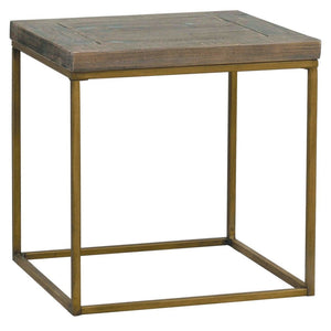 Avery Bronze & Reclaimed Wood Side Table - side table