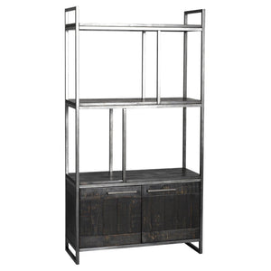 Avery Gunmetal Grey & Reclaimed Black Wood Bookcase - Bookcase