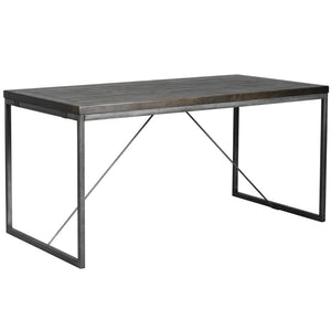 Avery Gunmetal Grey & Reclaimed Black Wood Dining Table - Standard 1.8m - Dining Table