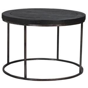 Avery Gunmetal Grey & Reclaimed Black Wood Round Coffee Table - Coffee Table