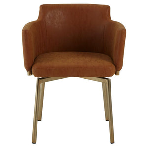 Azzaro Brown Leather Dining Chair - Dining Chairs