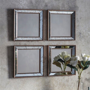Bellagio Antique Gold Square Mirrors (Set of 4) - Wall Mirror