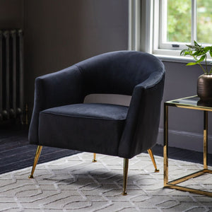 Bellini Black Velvet & Gold Armchair - Accent Chair
