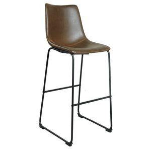 Brixton Bar Stool - Chestnut Faux Leather (Set of 2) - Bar Stool