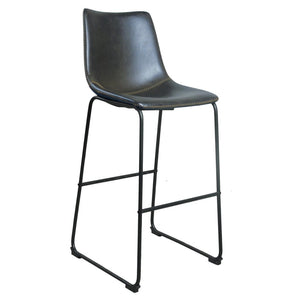 Brixton Bar Stool - Grey Faux Leather (Set of 2) - Bar Stool