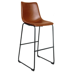 Brixton Bar Stool - Tan Faux Leather (Set of 2) - Bar Stool