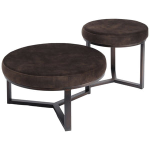Cali Mocha and Bronze Large Round Pouffe - Footstool