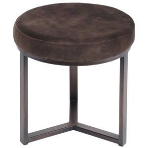 Cali Mocha and Bronze Small Round Pouffe - Footstool
