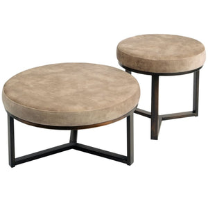 Cali Taupe and Bronze Large Round Pouffe - Footstool