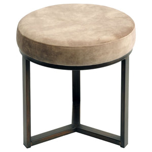 Cali Taupe and Bronze Small Round Pouffe - Footstool