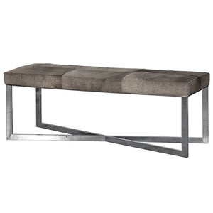 Carter Chrome & Grey Leather Hide Bench - Bench