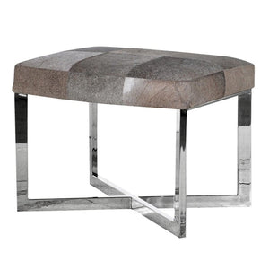 Carter Chrome & Grey Leather Hide Stool - Footstool