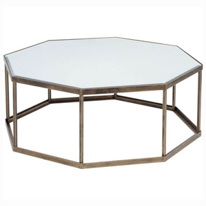 Coco Octagonal Antique Gold Mirrored Coffee Table - Coffee Table