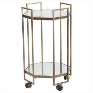 Coco Octagonal Antique Gold Mirrored Drinks Trolley - Drink Trolley