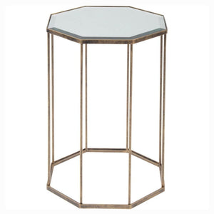 Coco Octagonal Antique Gold Mirrored Side Table - side table