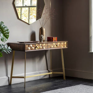 Colleen Acacia Wood & Brass Console Table - Console Table