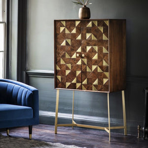 Colleen Acacia Wood & Brass Drinks Cabinet - Drink Cabinet