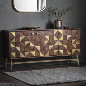 Colleen Acacia Wood & Brass Sideboard - sideboard