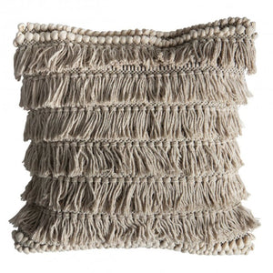 Cream Fringed Cushion - Cushion