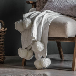 Cream Knitted Pom Pom Chenille Throw - Throw
