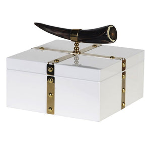 Decorative White & Gold Box with Horn Trim - Decorative Box