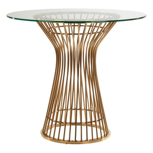 Eliza Gold & Glass Round Dining Table - Dining Table
