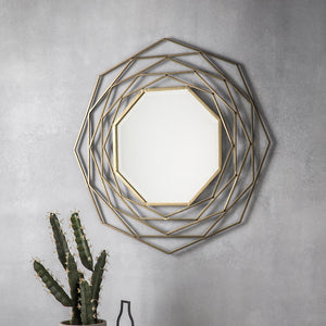 Emelia Octagonal Gold Accent Mirror - Wall Mirror