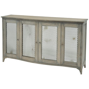 Eskdale Antique Mindi Wood and Wire Mesh Sideboard - sideboard