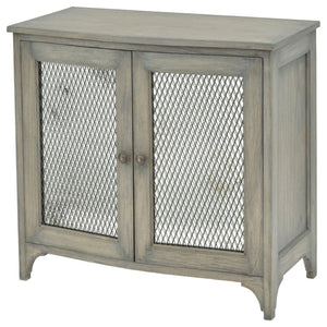 Eskdale Antique Mindi Wood and Wire Mesh Small Sideboard - sideboard