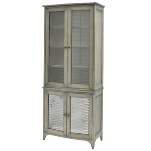 Eskdale Antique Mindi Wood and Wire Mesh Tall Cabinet - Storage Cabinet