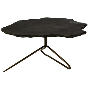 Faith Black Slate and Antique Brass Coffee Table - Coffee Table