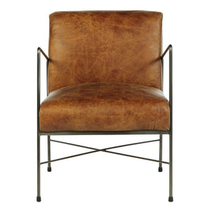 Floyd Vintage Light Brown Distressed Leather Accent Chair - Accent Chair