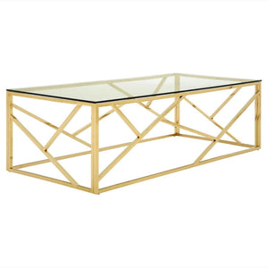 Fontana Champagne Gold and Glass Coffee Table - Coffee Table