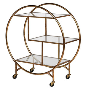 Gatsby Round Distressed Gold Drink Trolley - Drink Trolley