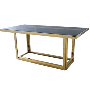 Giorgio Gold and Smoked Glass Dining Table - Dining Table