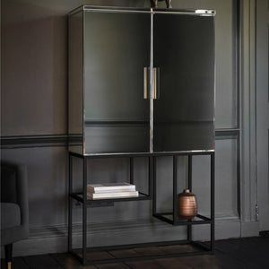Gloria Mirrored Black Cocktail Cabinet - drinks cabinet
