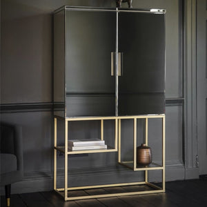 Gloria Mirrored Champagne Gold Cocktail Cabinet - drinks cabinet