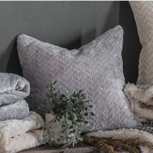 Grey Chevron Embossed Cushion - Cushion