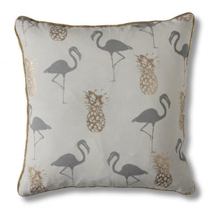Grey & Gold Flamingo and Pineapple Cushion - Cushion