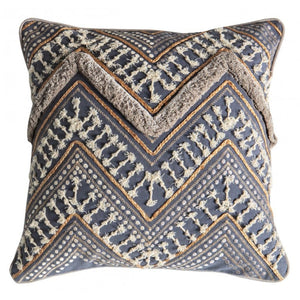 Grey & Ochre Embroidered Cushion - Cushion