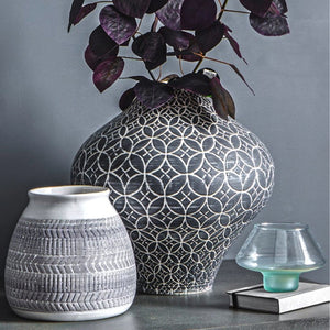 Grey Patterned Ceramic Vase - Vase